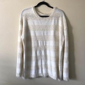 NWT Joseph A. Cream Ivory Stripe Eyelash Sweater